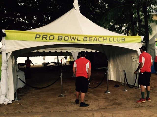 Part of the roped-off area for the private portion of the NFL's pre-Pro Bowl activities is beneath a tent.