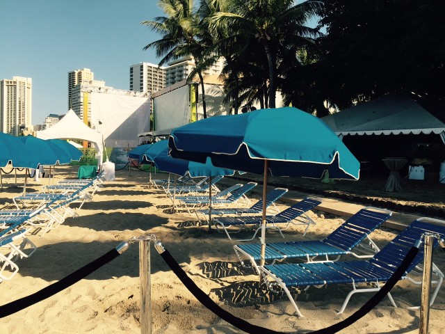 The Friday morning scene: Not only does the party venue block the grassy part of Queen's Beach; it extends all the way to the beach itself. Marketers for the NFL had promised the public would not be blocked off from the beach.