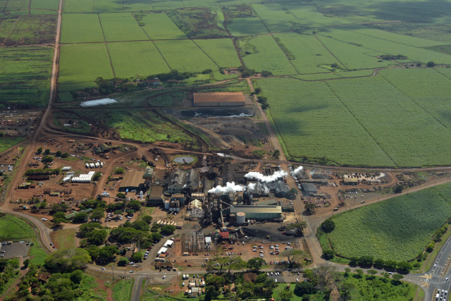 An aerial view of the sugar mill on Maui owned by Alexander & Baldwin.