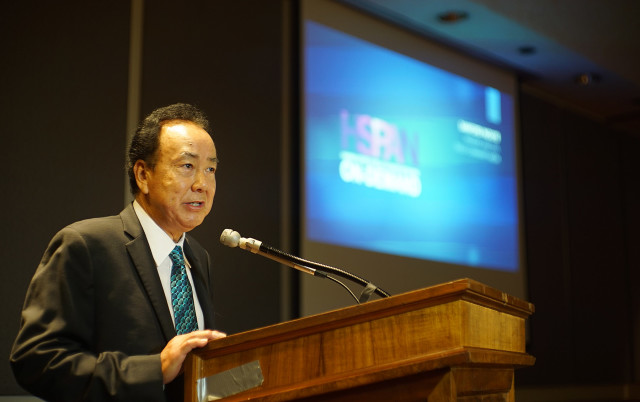 President and CEO Sanford Inouye of Olelo Community Media unveils HSPAN at the Capitol Auditorium.