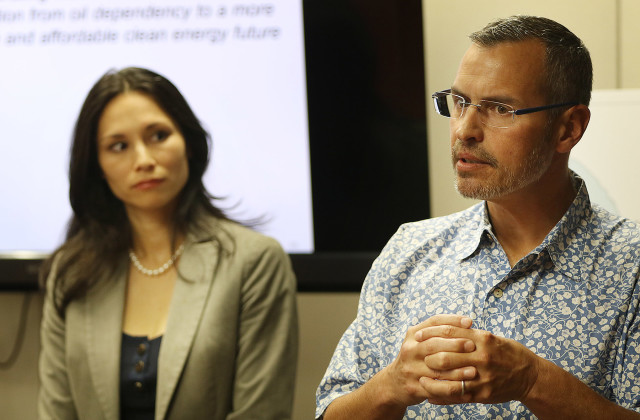 Hawaii Gas President and CEO Alicia Moy, left, and Senior Vice President Joseph Boivin put forward their company's pitch for liquefied natural gas on Tuesday.
