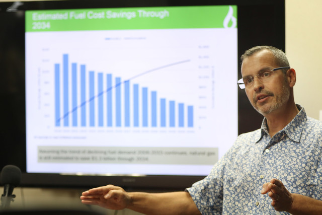 Boivin offers data to show the benefits of LNG that his company forecasts for Hawaii over a 15-year period.