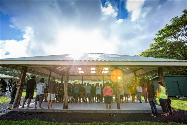 Students during morning opening protocol at the Ka 'Umeke Ka'eo charter school in Hilo HI.