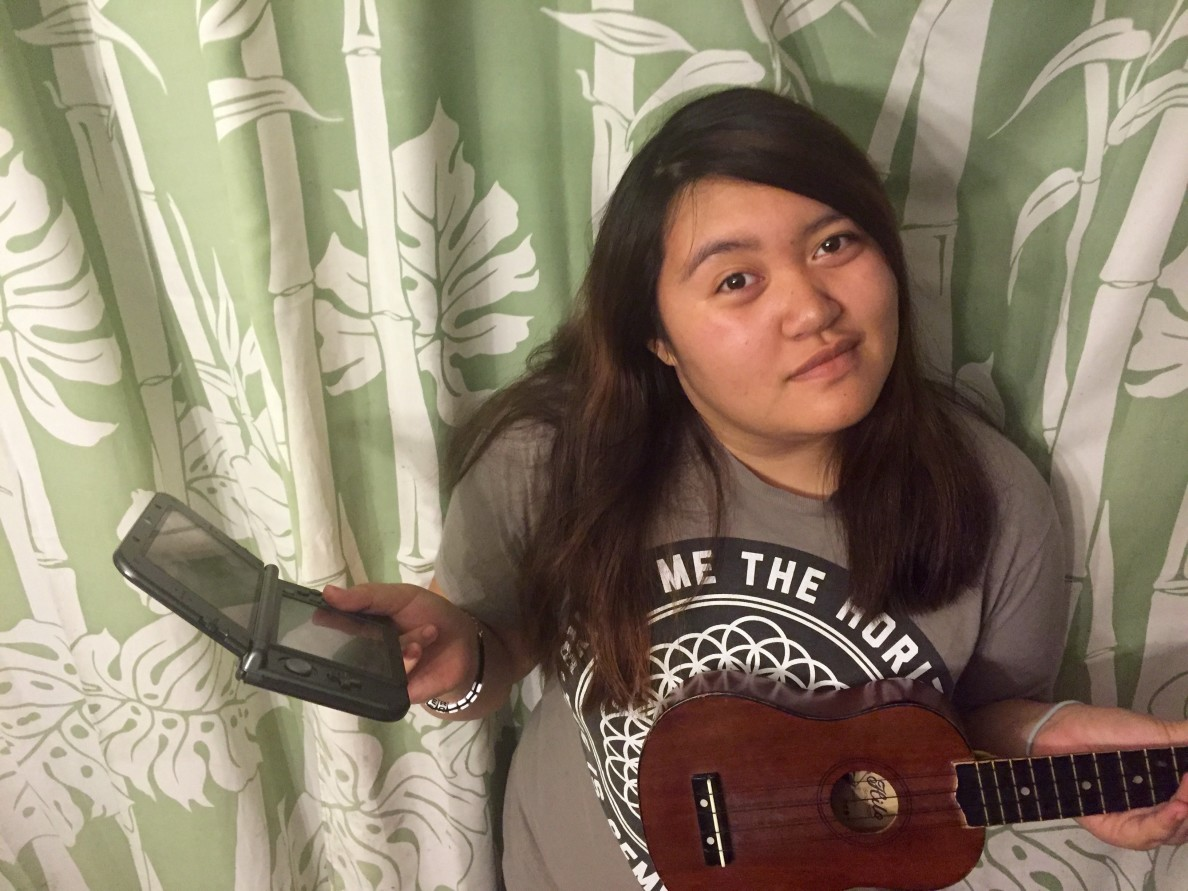 The 15-year-old Ka'ala Bajo models the cultural mix she finds in her life.