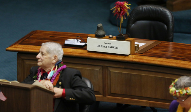 Kahele's empty chair on opening day of the 2016 Legislature,