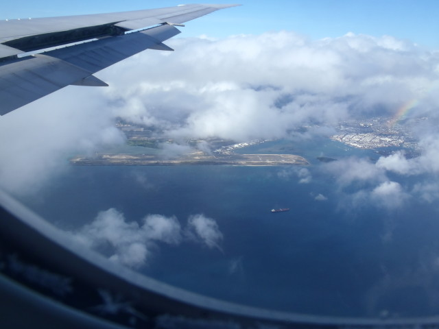 A plane makes its final approach to land at Honolulu International Airport on Oahu.
