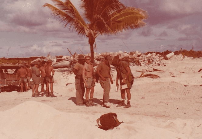 U.S. military personnel on Enjebi Island, part of Enewetak Atoll in the Marshall Islands, 1978.