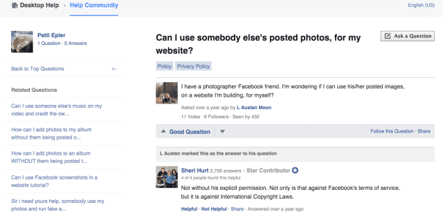 Facebook question on photo use