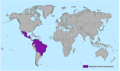 This map from the Centers for Disease Control and Prevention shows the countries where Zika is currently being transmitted.