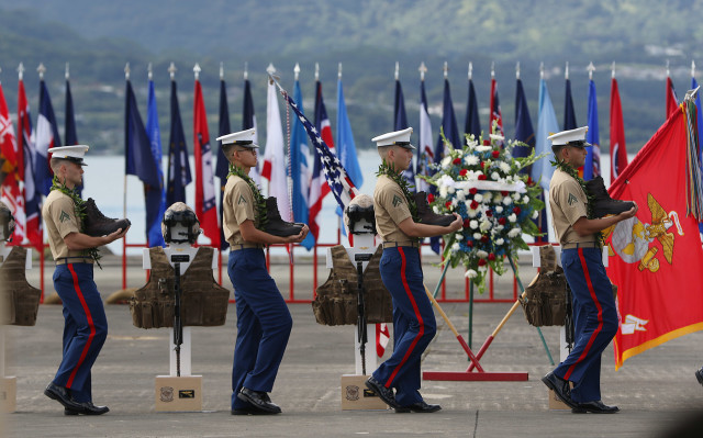 A memorial service for the 12 Marines lost when their helicopters went down off the coast of Oahu was held last Friday.