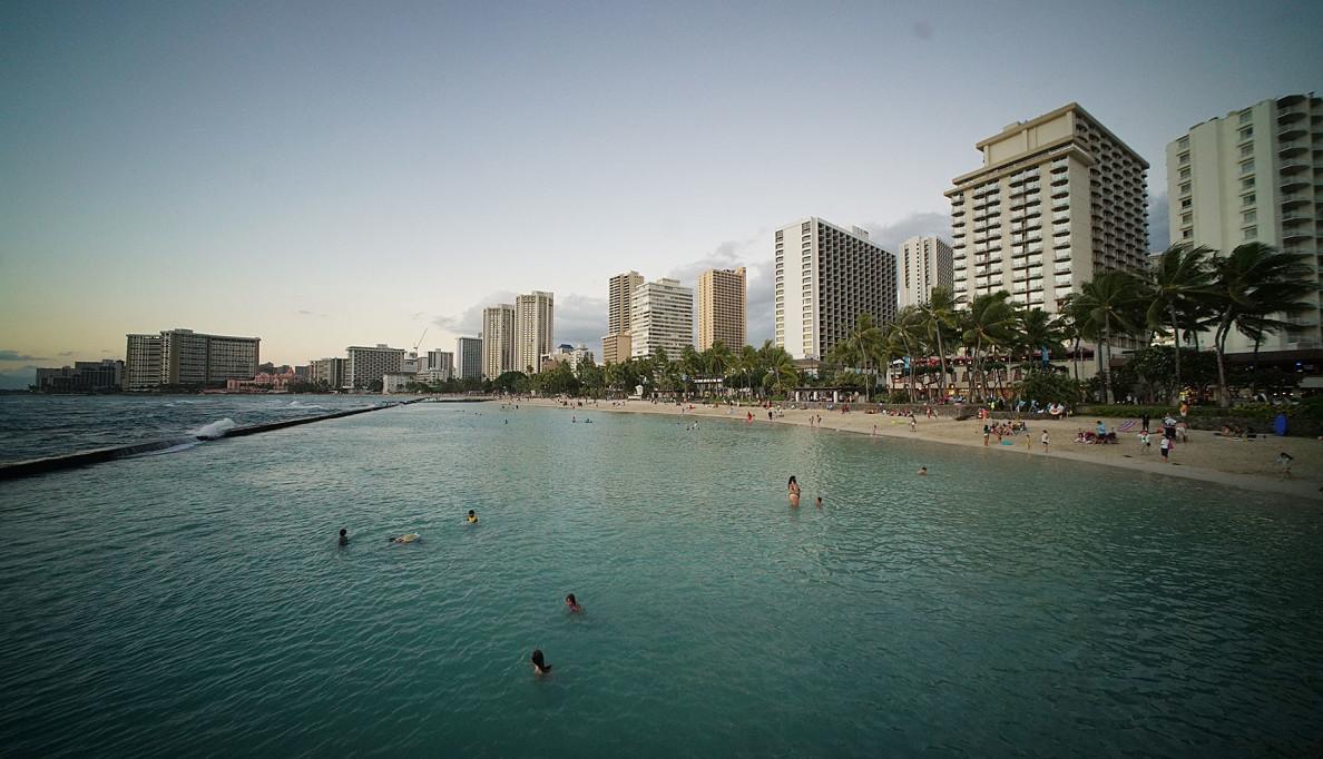View of Waikiki hotel skyline from the Kapahulu groin.