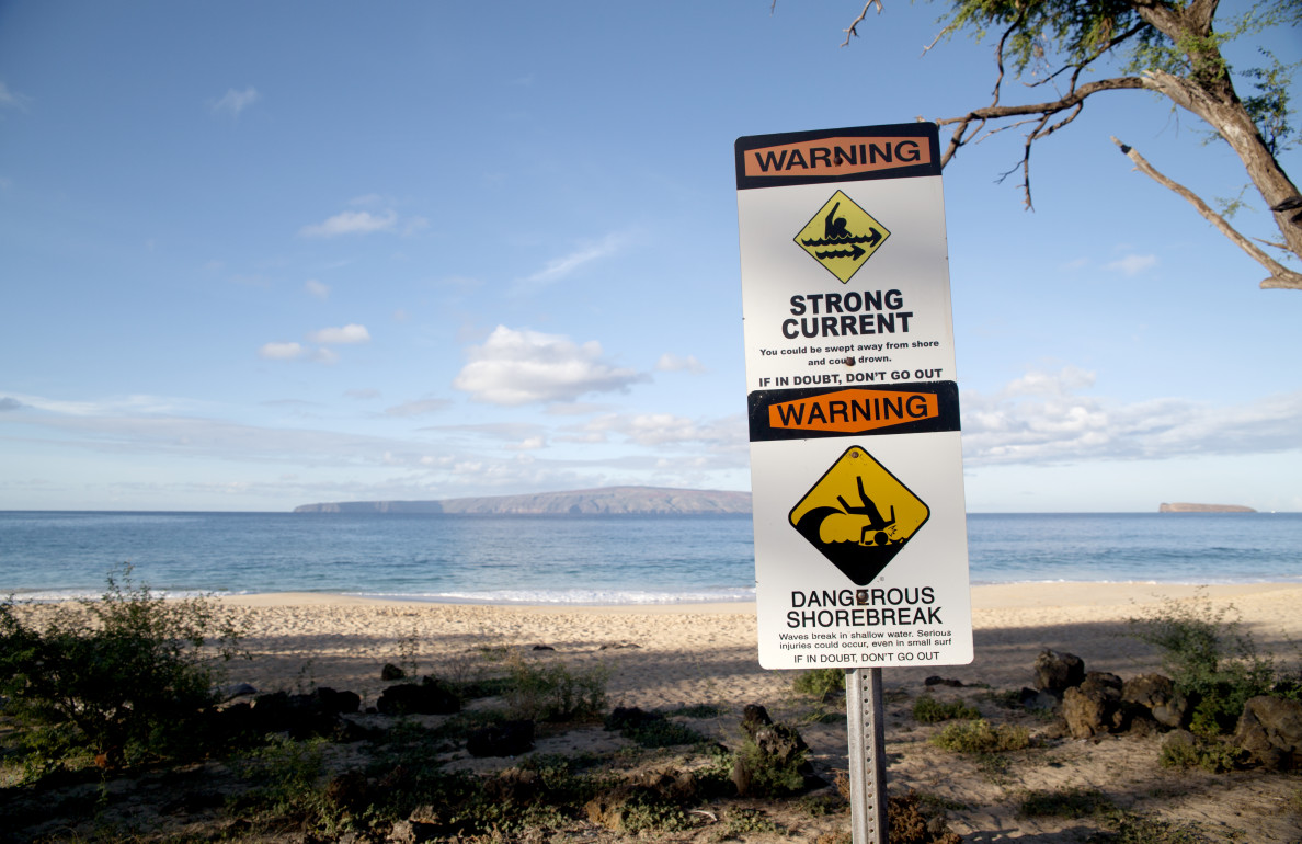 Despite clearly posted signs like this one at Makena State Beach Park, many visitors -- like Todd Duitsman -- are seriously injured on remote beaches when they fail to heed the warnings.