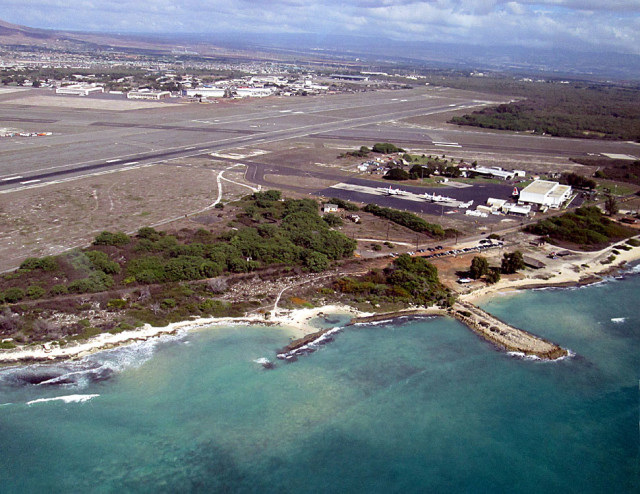 Nimitz beach, U.s.S Coast Guard Air Station Barbers Point and tarmac of Kalaeloa Airport in background