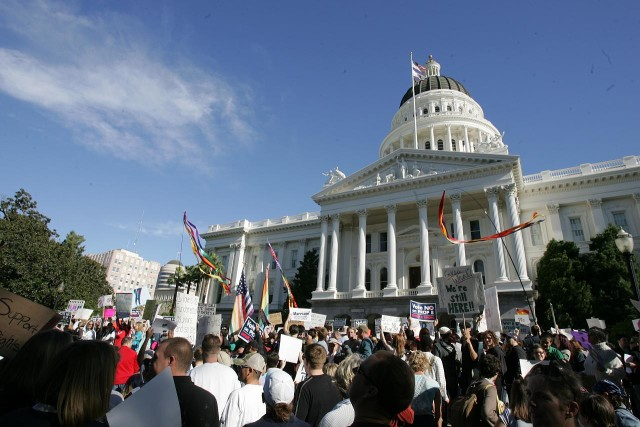People upset by the passage of Proposition 8, the anti-gay marriage initiative, protest at the California State Capitol in Sacramento in 2008.