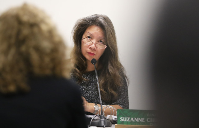 Chair Suzanne Chun Oakland questions during carehome bill discussions room 16, Capitol.