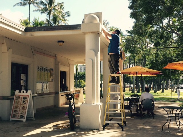 New LED lights are installed at a food concession at Ala Moana Beach Park.