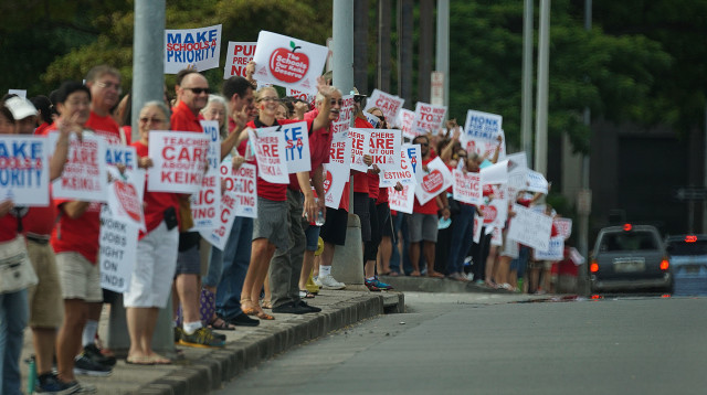 Teachers rallied at the Capitol last month to raise support of their union's proposed legislation.