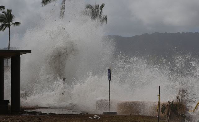 Waves collide against walls at Haleiwa Beach Park.