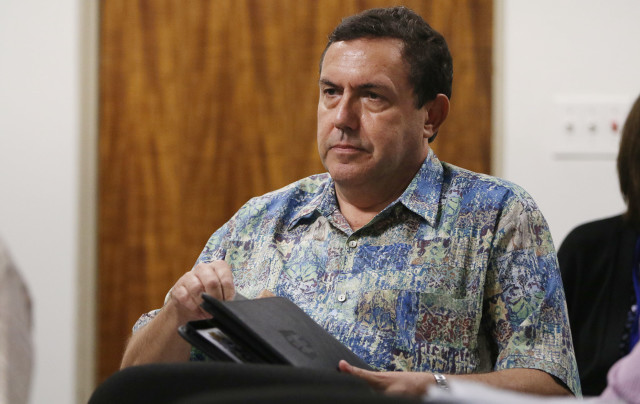 Mark Delorme President of Kokua Council after he testified during carehome bill. Sen Chun Oakland chair room 16 Capitol..