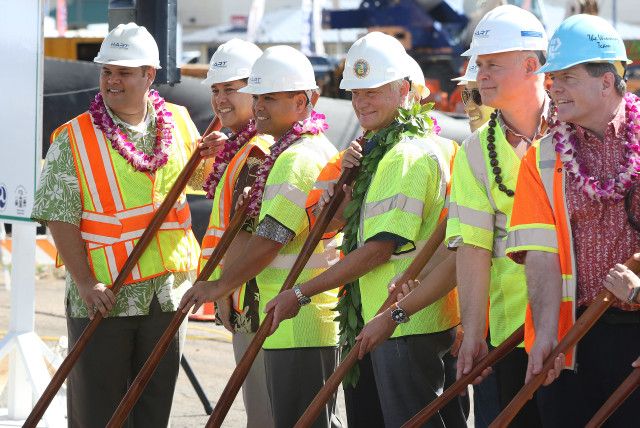 Rep Ty Cullent, Marvin Buenconsejo from Sen Hirono's office, Rep Henry Aquino, Mayor Caldwell, City Councilman Brandon Elefante, HART Exec Dir Dan Grabauskas and more VIPs during Waipahu West Loch Waipahu station ground breaking ceremonies.