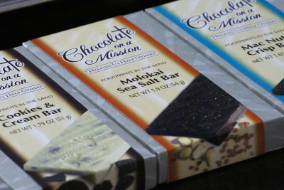 River of Life chocolate closeup Molokai Sea Salt chocolate on a mission1. 30 jan 2016.photograph Cory Lum/Civil Beat