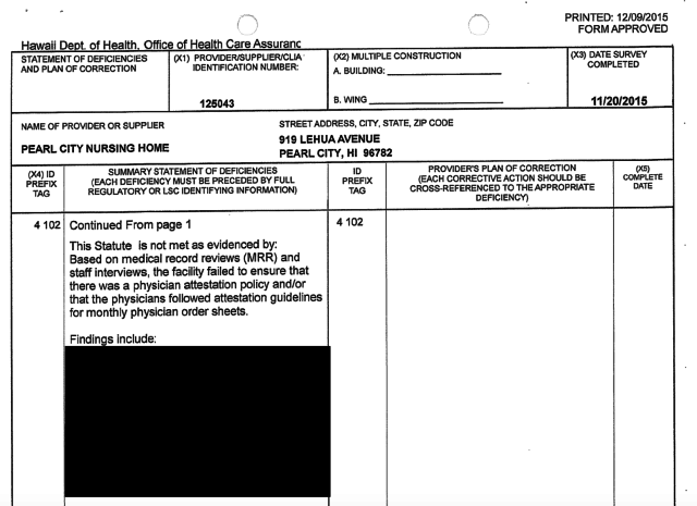 Significant portions of the findings are redacted in the inspection reports, as in this one for Pearl City Nursing Home.