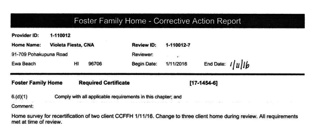 Community care foster family home inspections are generally just a couple lines, like this one for Violeta Fiesta.