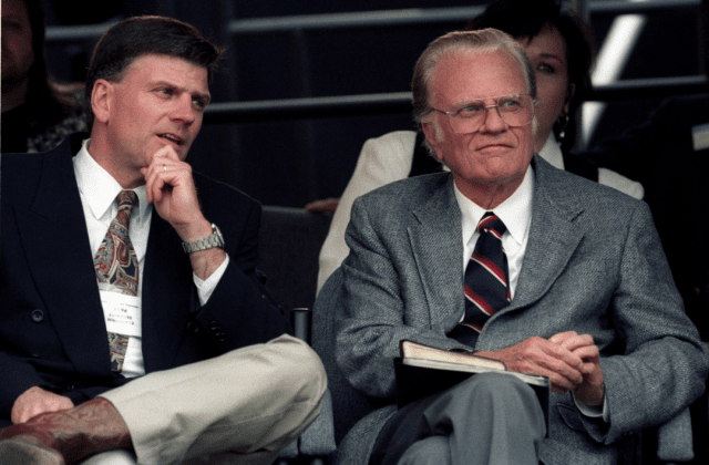 "A file photo of evangelist Billy Graham, right, and son Franklin, who recently spoke in Honolulu as part of a 50-state tour called ""Decision America."""