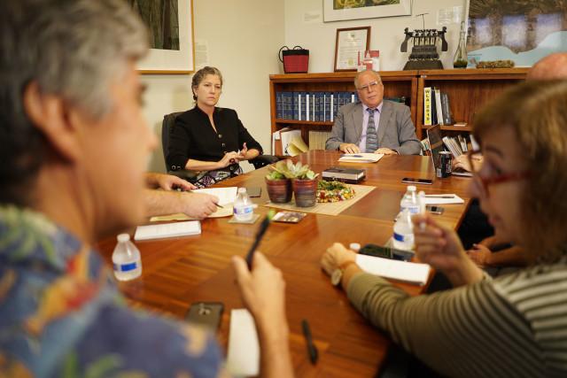 Sen Laura Thielen and right, Sen Russell Ruderman during editorial board meeting held at Sen Thielen's office.