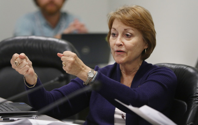Sen Roslyn Baker gestures during meeting with Vice Chair / Sen Will Espero Chair and right, Clarence Nishihara, Public Safety, Intergovernmental Affairs and Military Affairs during committee hearing for bills.