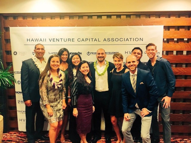 Members of the growing Sultan Ventures team at the recent awards gala of the Hawaii Venture Capital Association.