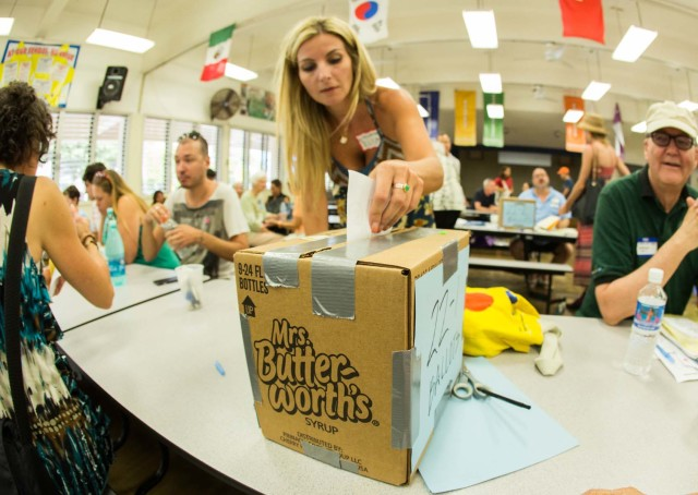 Ballot boxes came in various forms throughout Oahu during Saturday's Democratic caucus in Hawaii.