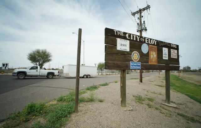 Wooden sign near the main street of Eloy, Arizona. 7 march 2016. photograph Cory Lum/Civil Beat