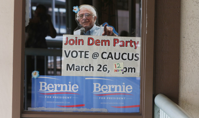 'Join Dem Party' sign with photograph of Bernie Sanders at the Ward Warehouse campaign headquarters. 26 march 2016.