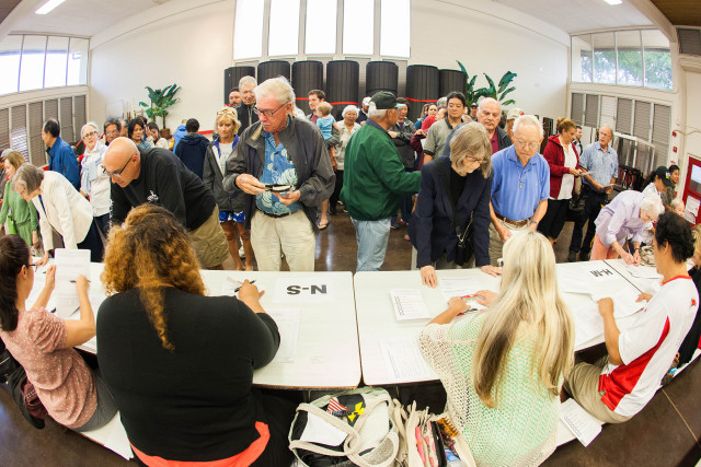 Republican voters cast their votes at Kalani High School on Oahu.