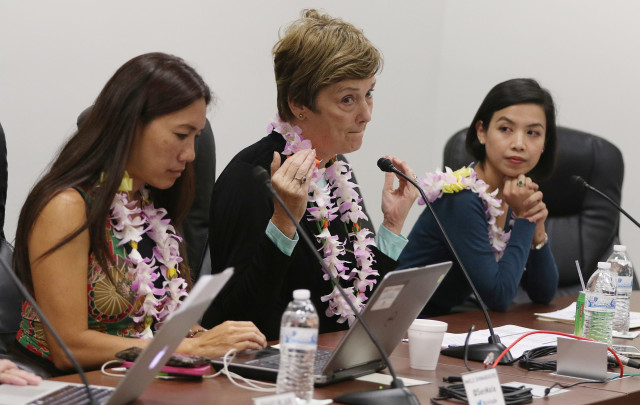 Honolulu Civil Beat Civil Cafe at the Captiol with left, Chad Blair, Senator Maile Shimabukuro, League of Women Voters Janet Mason and right, Common Cause Hawaii Carmille Lim at room 414 Capitol.