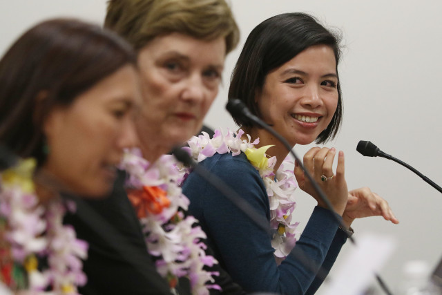 Honolulu Civil Beat Civil Cafe at the Captiol with left, Senator Maile Shimabukuro, League of Women Voters Janet Mason and right, Common Cause Hawaii Carmille Lim at room 414 Capitol.