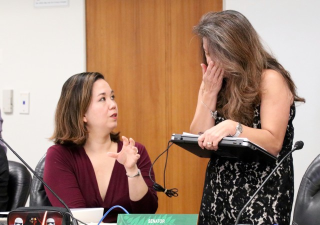 Sen. Jill Tokuda, left, chair of the Ways and Means Committee, talks to Sen. Suzanne Chun Oakland after a hearing Thursday.