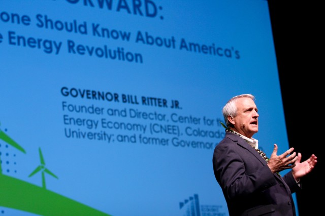 Former Colorado Gov. Bill Ritter said the path to 100 percent renewable energy should be viewed from a moral position.