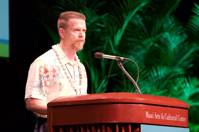 Ulupono Initiative managing partner Murray Clay speaks during the Maui Energy Conference, Thursday.