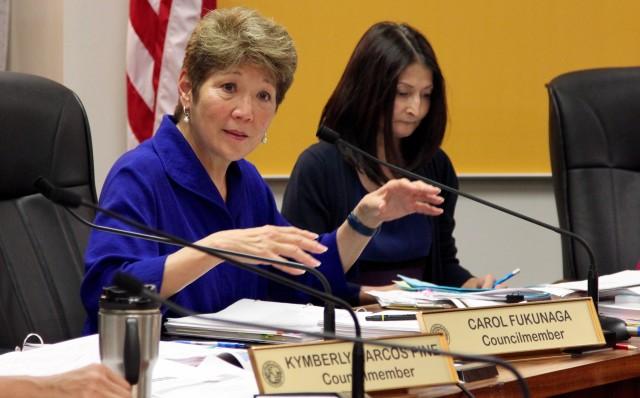 Honolulu City Councilwoman Carol Fukunaga speaks during a hearing on a bill to regulate transportation network companies like Uber and Lyft, Wednesday.