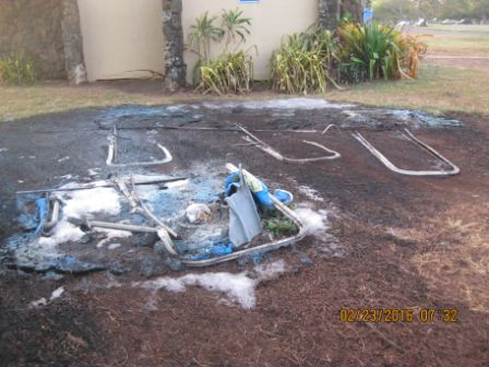 Kaika Bay Beach Park—February 22, 2015 burned portable toilets