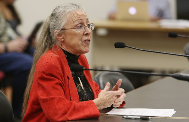Kat Brady testifies on prison issues during House judiciary hearing.