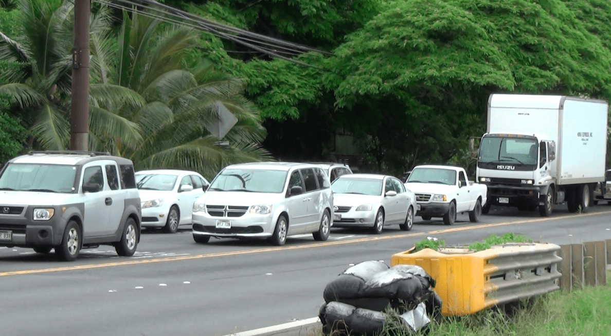 A typical scene along the Farrington Highway, where almost everybody is looking to go the same direction during rush hours.