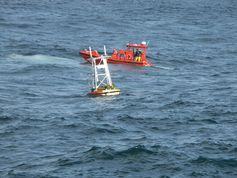 NOAA tsunami detection buoys can come unmoored in the deep ocean, as this one did, requiring recovery and replacement.