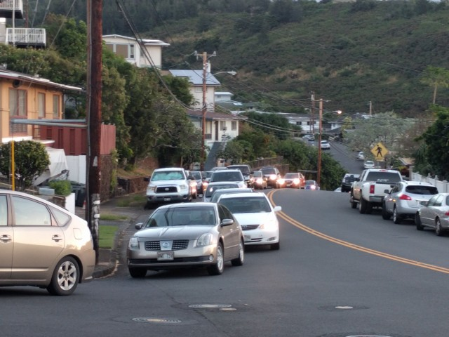 Residents say traffic has gotten worse in Moanalua. Pictured here, cars sit in traffic in January 2016 as they attempt to take a right turn onto Apona Street from Ala Mahamoe Street.