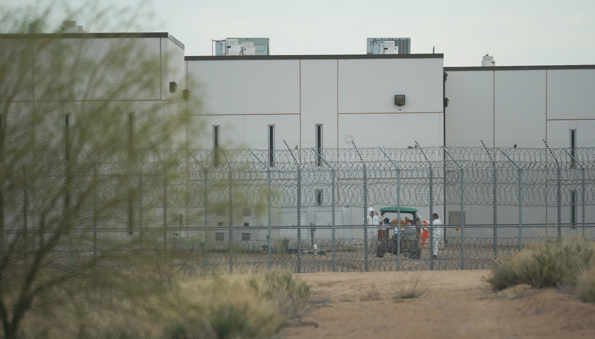 Saguaro Correctional Facility, Eloy, Arizona with workers. Not quite sure if these are prisoners or security personnel. 6 march 2016. photograph Cory Lum/Civil Beat