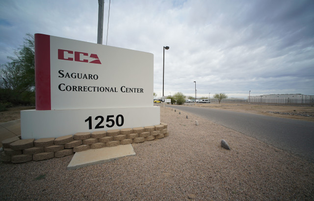 Saguaro Correctional Center Eloy Arizona sign, entrance into parking lot.