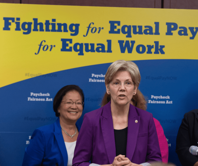 Hawaii Sen. Mazie Hirono joins Sen. Elizabeth Warren of Massachusetts for an event in Washington, D.C. calling for equal pay for women. The Hawaii Legislature is considering a bill to target the gender gap in the islands.