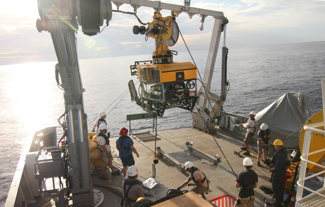 The Schmidt Ocean Institute used this remotely operated vehicle to film 360-degree images of hydrothermal vents on the floor of the Pacific Ocean.